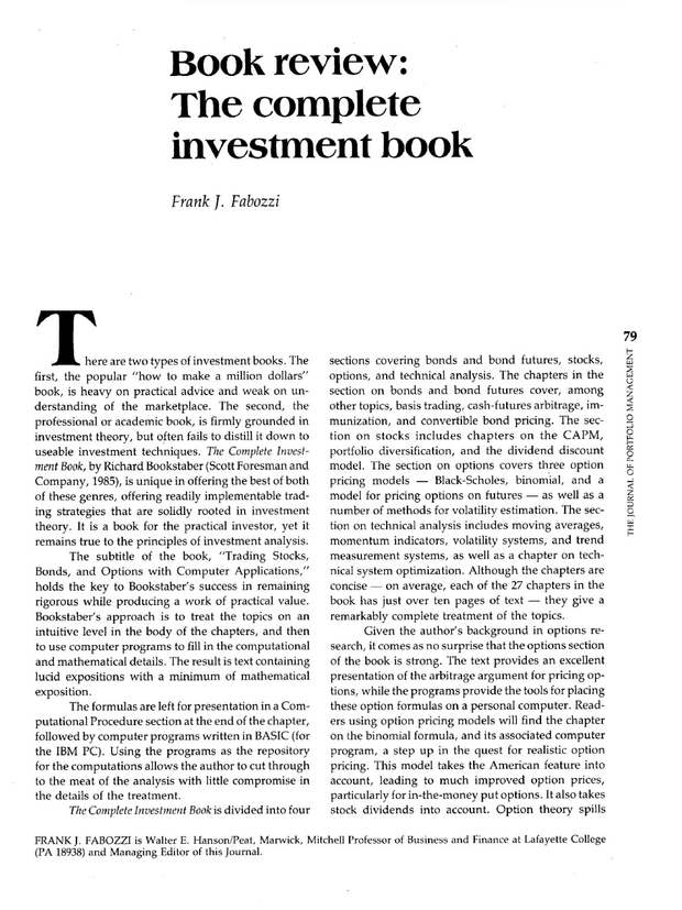 The Complete Investment Book The Journal Of Portfolio Management
