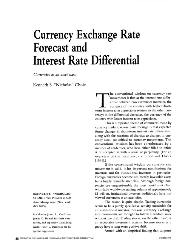 Forex interest rate differentials table of contents darkom investment banks