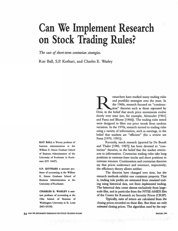 Can We Implement Research on Stock Trading Rules? | The