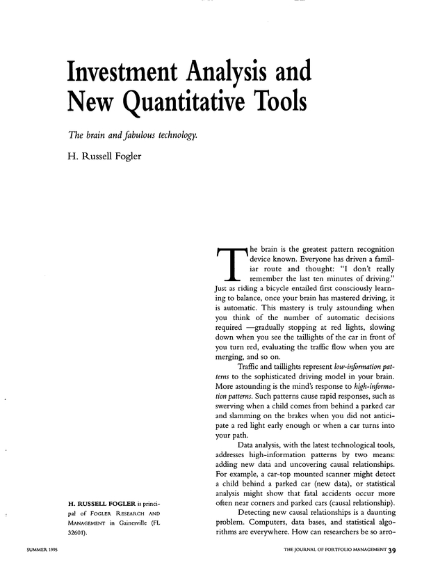 Investment Analysis And New Quantitative Tools  The Journal Of