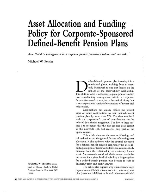 Asset Allocation and Funding Policy for Corporate-Sponsored Defined
