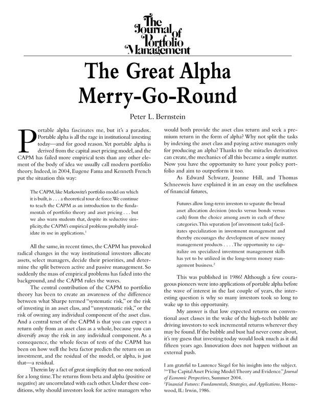 The Great Alpha Merry-Go-Round | The Journal of Portfolio