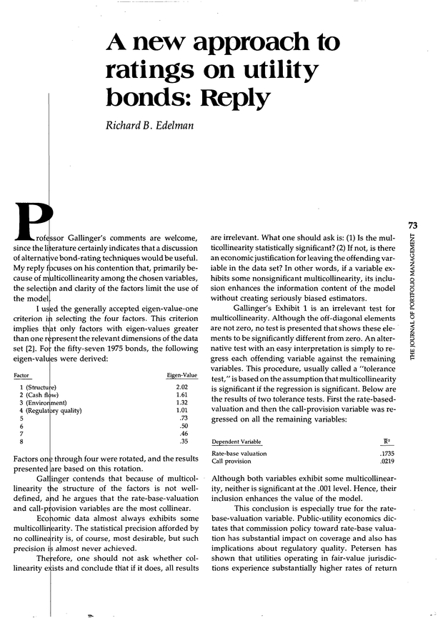 A new approach to ratings on utility bonds | The Journal of